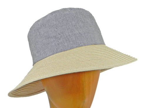 WSC31 Denim/Sewn Straw Sun Hat in Denim/Natural