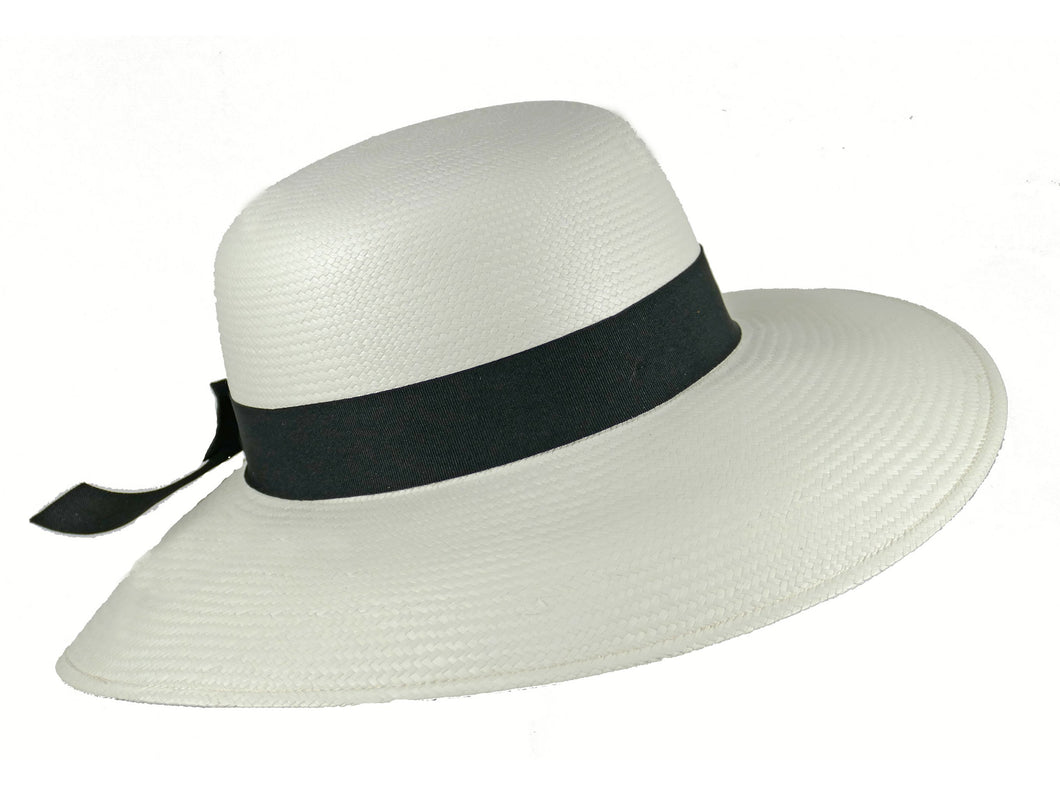 WSC34 Panama Sun Hat in White/Black