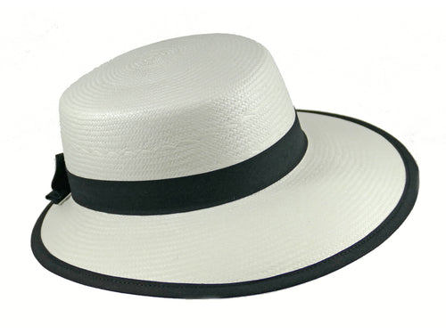 WSC35 Panama Sun Hat in White/Black