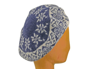 WSC42 Printed Beret in Navy/Oatmeal
