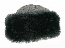 Load image into Gallery viewer, WSK04 Cable Knit/Faux Fur Cossack in Black