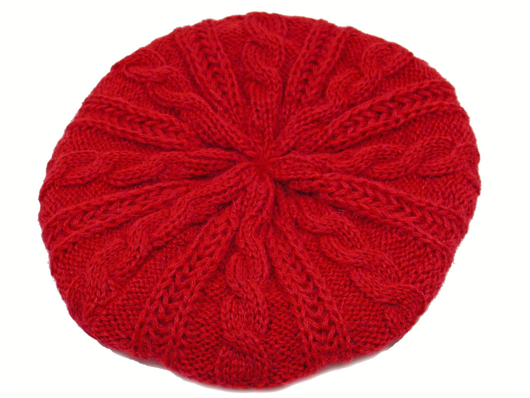 WSK05 Cable Knit Beret in Berry