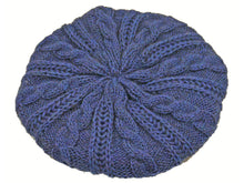 Load image into Gallery viewer, WSK05 Cable Knit Beret in Midnight