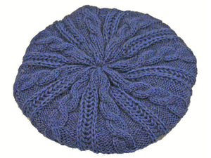 WSK05 Cable Knit Beret in Midnight