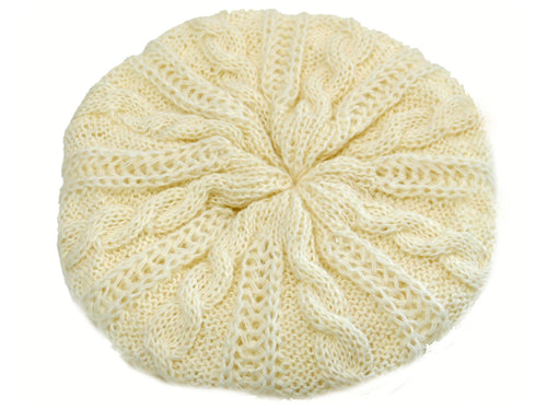 WSK05 Cable Knit Beret in Polar