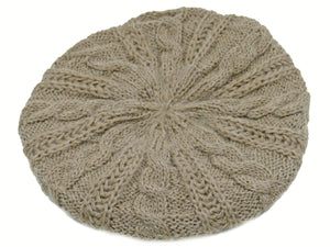 WSK05 Cable Knit Beret in Taupe