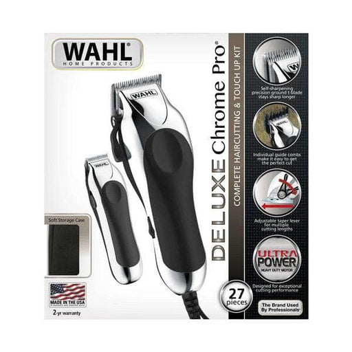Hair Clippers  Wahl Delux Chrome Pro Combo Silver Black - Shoppersbase