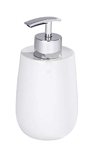 Wenko Malta Soap Dispenser, Ceramic, White, 7 x 7 x 15.2 cm - Shoppersbase