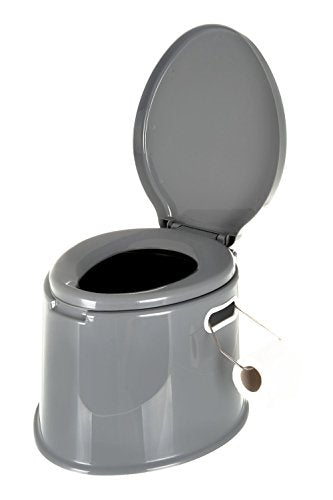 PORTABLE OUTDOOR / INDOOR GREY TOILET - POTTY LOO MANUAL, IDEAL FOR CAMPING CARAVAN PICNIC FISHING FESTIVALS - Shoppersbase