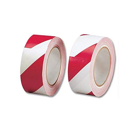 5 Star Red/White Hazard Tape, Soft PVC, Internal Use | Instant Adhesion to Surfaces | Width 48mm, Length 33m - Shoppersbase
