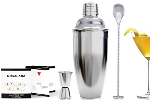 24 Ounce (710 ml) Cocktail Shaker Bar Set Accessories - Martini Kit with Measuring Jigger and Mixing Spoon plus Drink Recipes Booklet - Stainless Steel Tool Built-in Bartender Strainer - Shoppersbase