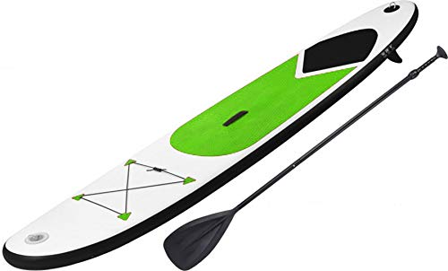GEEZY Inflatable 305 SUP Surf Board with Adjustable Paddle, Ankle Strap, Pump & Carry Bag (Green) - Shoppersbase