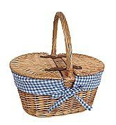 Blue Mini Lined Double Lidded Picnic Basket - Shoppersbase