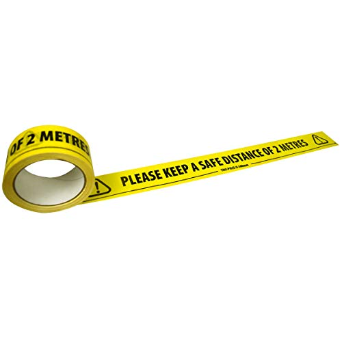 Triplast 'Please Keep A Safe Distance of 2 Metres' Warning Floor Tape | Strong Vinyl Yellow Tape - Shoppersbase