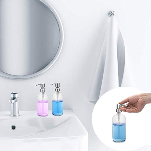 GLUBEE Transparent Glass Soap Dispenser - Refillable Soap Dispenser for Kitchen Sinks, Liquid Glass Hand Soap Dispenser with Brushed Nickel Pump, Perfect for Liquid Soap, Bathroom, Restaurant (500 ML) - Shoppersbase