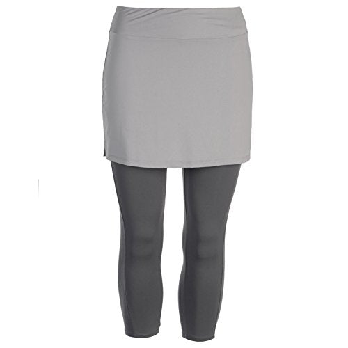 Slazenger Womens Court Skapri Performance Skort Stretch Stretchy Elasticated Grey/Charcoal 8 (XS) - Shoppersbase