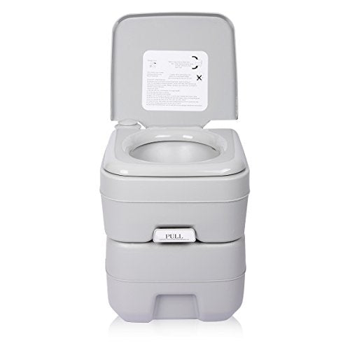 Excelvan 20L Travel Portable Toilet 5 Gallon Flush Porta Potti 130kg Bearing Safe Outdoor/Indoor Camping Waste Dustbin Sanitation Tool - Shoppersbase