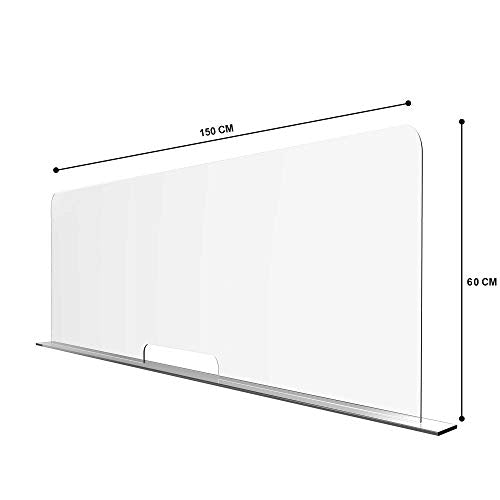 Solarplexius Protective Sneeze Guard, Clear Acrylic Plexiglass Shield for Counters & Transaction Windows, Protection against Coughing & Sneezing (150 x 60 cm) - Shoppersbase