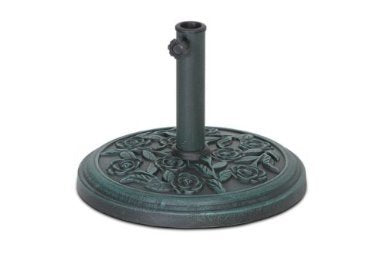 9KG PARASOL BASE. GARDEN PATIO UMBRELLA STAND POLYRESIN ROSE VERDIGRIS DESIGN - Shoppersbase