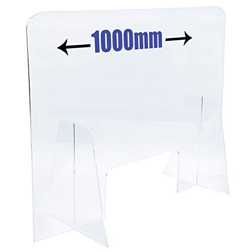 3MM Acrylic Checkout Sneeze Guard Virus Shield Desk Divider with or Without Access Hatch For Shop Counters & Supermarkets 3 Sizes(DS82/C) (LARGE (1000MM), WITH ACCESS HATCH) - Shoppersbase