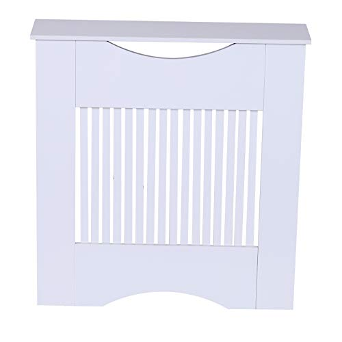 HOMCOM Painted MDF Radiator Cover Heater Cabinet Modern Slatted Home Furniture Lving Room Bedroom Worktop White 82H x 78W x 19D - Shoppersbase