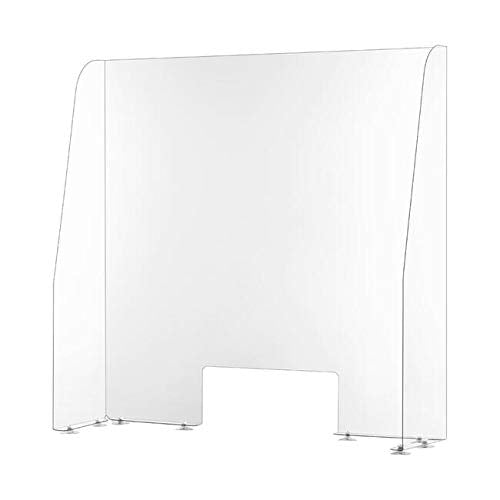 Screen Protector Worktop Sneeze Guard Countertop Safety Screen with Hatch - 750mm Width - Shoppersbase