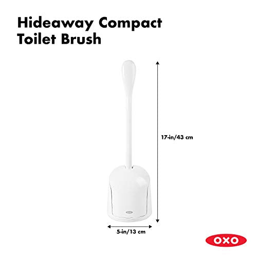 "OXO Compact Toilet Brush, White, 6"" x 4-3/4"" x 17-1/4"" H - Shoppersbase"