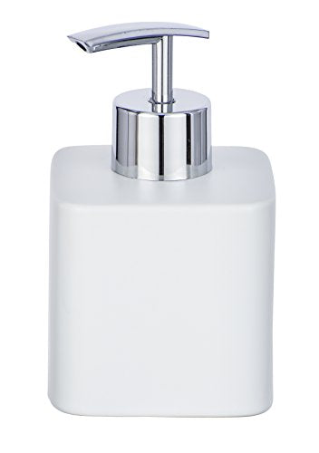 Wenko Hexa 0.29 Litre Liquid Soap Dispenser Ceramic Soap Dispenser, White, 8.5 x 7.5 x 13 cm - Shoppersbase