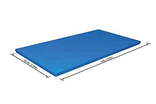 Bestway 58106-XGLX16XX02 Flowclear Swimming Cover for Rectangular Steel Pro Pools, Blue, 9 ft 10 Inch (3.00 m x 2.01 m) - Shoppersbase