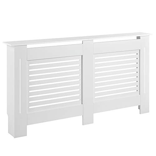 [en.casa] Radiator Cover Case for Heater Burn Protection Slatted MDF Boards 152 x 19 x 82 cm White - Shoppersbase