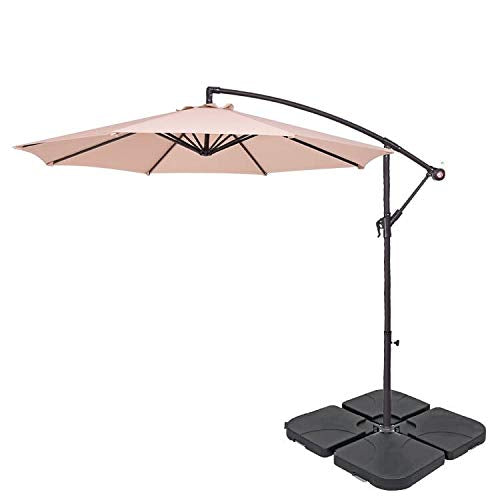 BillyOh 2.7m Parasol - UV Resistant Garden Cantilever Hanging Umbrella with Easy Tilt Operation for Outdoor, Garden and Patio (Beige with base) - Shoppersbase
