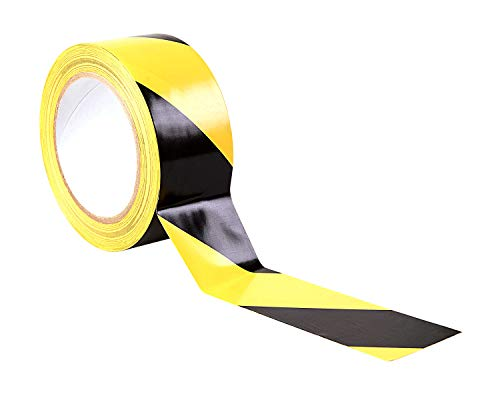 "Premium Black/Yellow Hazard Warning Tape - 33m x 50mm (2"") - Adhesive Marking Barrier Tape - High Quality Roll by Gocableties - Shoppersbase"