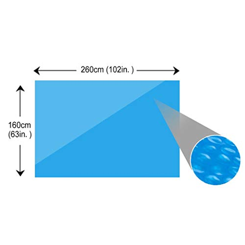 Galapara Rectangular Solar Pool Cover, PE film with air chambers, bubble wrap 260 x 160 cm Blue, Being lightweight, installing and handling easy - Shoppersbase