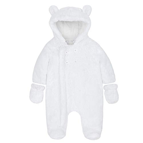 BABY TOWN Babytown Snuggle Plush Hooded Pramsuit with Mittens White 3-6 Months - Shoppersbase