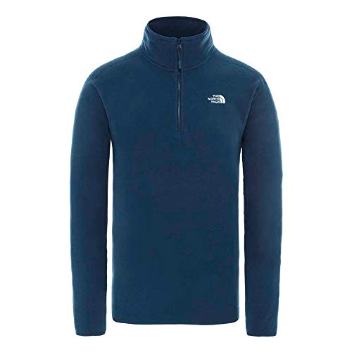 THE NORTH FACE Mens 100 Glacier 1/4 Zip L Blue Wing Teal - Shoppersbase