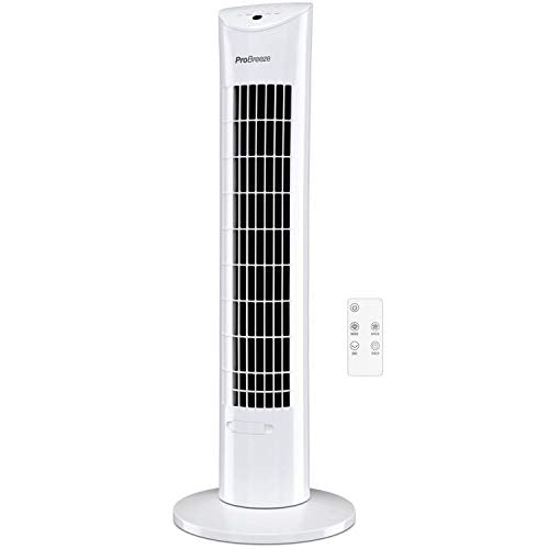 Pro Breeze® 30-inch Tower Fan with Oscillation, Ultra-Powerful 60W Motor, Remote Control, 7.5 Hour Timer and 3 Cooling Fan Modes for Home and Office - Shoppersbase
