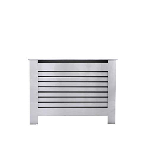 Juyouli Unique Design High Gloss Radiator Cover Living Room Kitchen Hallway Wall Cabinet Horizontal Slats in 4 Sizes (High Gloss Grey, M) - Shoppersbase