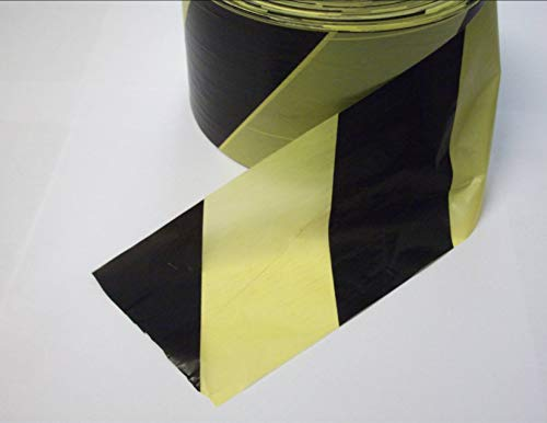 Black & Yellow Barrier Tape Hazard Warning Non Adhesive. 500 Metres - Shoppersbase