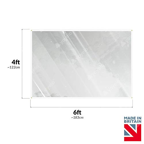 Checkout Sneeze Guard Counter Desk Cough Screen Clear Plastic Virus Shield PVC (6ft x 4ft (approx 183cm x 122cm)) - Shoppersbase