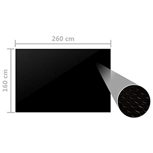 vidaXL Pool Cover Swimming Pool Film Solar Pool Cover Above Ground Pool Cover Garden Outdoor Swimming Pool Protection Family Black 260x160cm - Shoppersbase