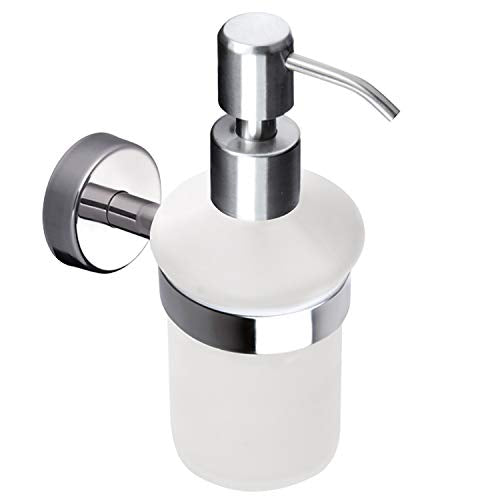 Kapitan Liquid Soap Dispenser and Holder, Frosted Glass, Wall Mounted, Stainless Steel AISI 304 18/10, Polished Finish, Made in EU, 20 Years Warranty - Shoppersbase