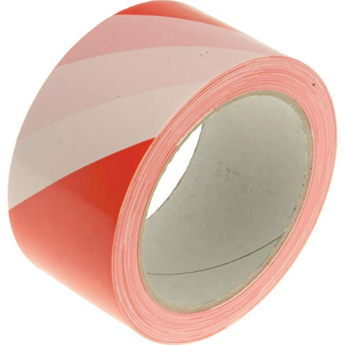 Faithfull TAPEHAZRW Hazard Warning Safety Tape - Red/ White - Shoppersbase