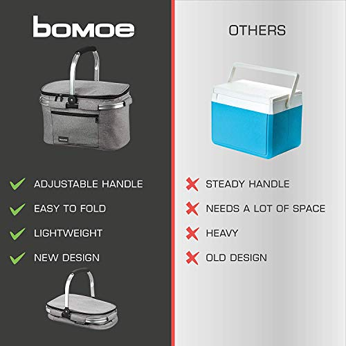 bomoe Cooler Bag Insulated Basket Foldable IceBreezer K37 – Outdoor Cool Bag – 37,5x25x23,5 cm – 22 Litre – Picnic Basket for Camping/Festival and more Outdoor Activities - Shoppersbase