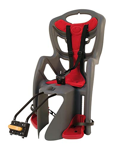 Bellelli Child Bike Seat Pepe Frame Mounted Colour: Anthracite/Red - Fully T? V/GS Certified Under EN14344:2004 Regulations by Bellelli. - Shoppersbase