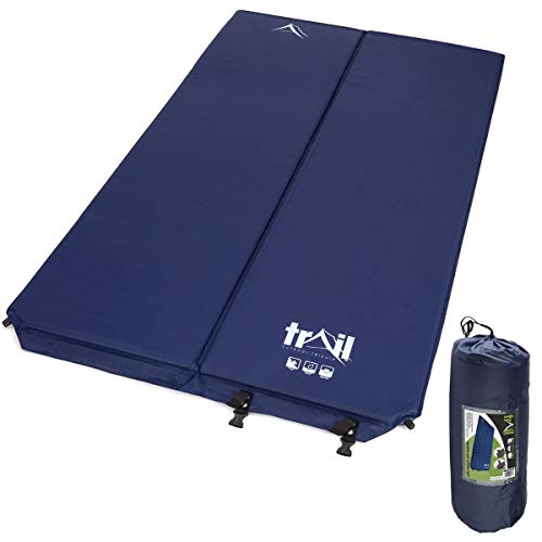 trail outdoor leisure Inflatable Double Camping Mat, Self-Inflating, 5cm Thick Memory Foam, 2 Person Sleeping Mattress, Carry Bag - Shoppersbase