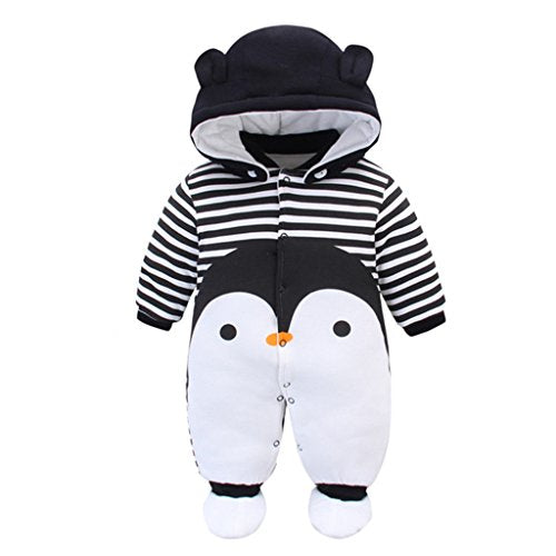 Baby Rompers with Footies Hat Boys Girls Cotton Jumpsuit Infant Winter Outfits Set, 9-12 Months - Shoppersbase
