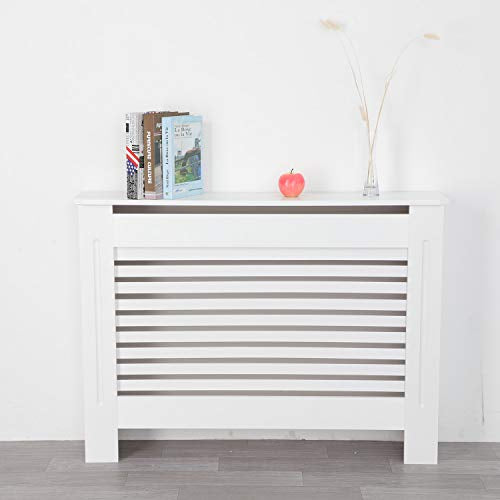 YORKING Radiator Cover Cabinet White Traditional Modern MDF Slat Wood Grill Furniture Living Room Bedroom Hallway Cabinet (Medium) - Shoppersbase