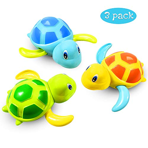 aovowog Baby Bath Toys Clockwork Turtle For Toddlers Boys Girls,Wind up Water Toys Swimming Turtle Summer Pool Bathroom Float Toy Best Child Plastic Bathtub - Shoppersbase