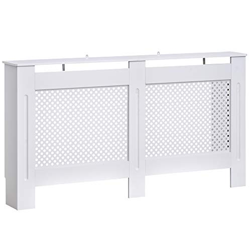 HOMCOM Wooden Radiator Cover Heating Cabinet Modern Home Furniture Grill Style Diamond Design White Painted (Large) - Shoppersbase
