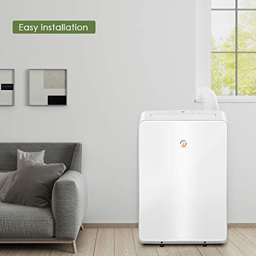Famgizmo 16000Btu Portable Air Conditioner Unit with Cooling,Dehumidifier,Fan Function, 4250W,24H Timer,LED Touch,Remote Control, Flexible Extension Horse, Low Power Consumption,Gas R290 - Shoppersbase